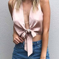 Pink Plunge Bow Tie Satin Crop Top