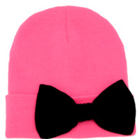 Hot Pink Beanie with Bow Hat