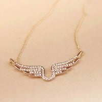 Angel's Wing Rhinestone Short Chain Necklace - LilyFair Jewelry