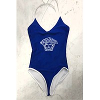 Versace Summer New Fashion Diamond Human Head Straps One Piece Bikini Suit Blue