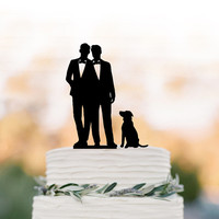 Gay Wedding Cake topper with dog,  gay silhouette cake topper for wedding, same sex wedding cake topper, gift for gay