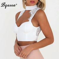 Bandage Lace Tank Crop Tops