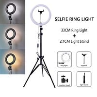 Dimmable LED Selfie Ring Light with Tripod USB Selfie Light Ring Lamp Big Photography Ringlight with Stand for Cell Phone Studio