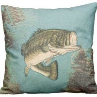 Fisherman Cabin and Lake Canvas Throw Fish Pillow - 16-in x 16-in (Green Fish on Blue)