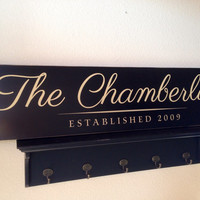 """Personalized Wood Sign - Custom Family Name - 30"""" x 7"""""""