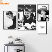 COLORFULBOY Wall Art Print Canvas Painting Audrey Hepburn Vintage Black White Photo Posters And Prints Wall Pictures Home Decor