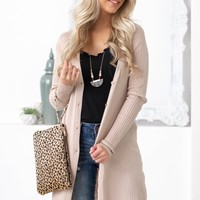 Mid Length Tan Button Up Cardigan