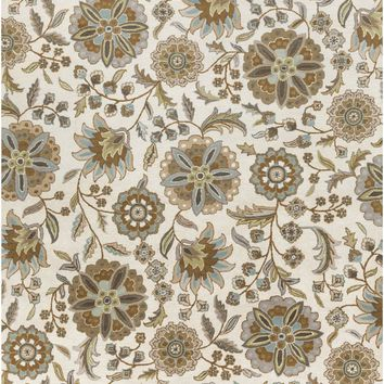 Athena Floral and Paisley Area Rug Blue, Brown, Neutral