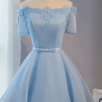 Homecoming Dress,  A-line Off-the-shoulder Satin Organza Mini Prom Dresses