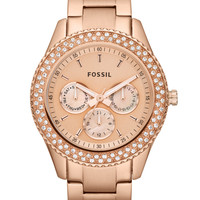 Fossil Women's Chronograph Stella Glitz Rose Gold Ion Plated Stainless Steel Bracelet Watch 37mm ES3003