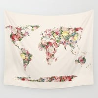 Floral World Map Tapestry - rose blossoms world Wall hanging - dorm room decor, retro, beautiful map, travel, wall decor