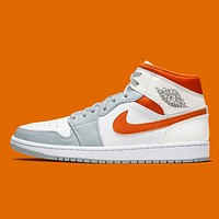 Hipgirls Nike Air Jordan 1 Mid new men and women gray orange high-top sneakers Shoes