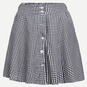 Small Black Checkerboard Buttoned Front A-Line Skirt