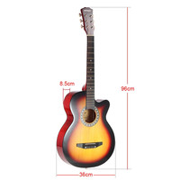 """Red and Brown Ammoon 38"""" 6-String Cutaway Folk Acoustic Guitar with Bag"""