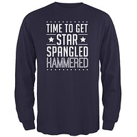 Time to get Star Spangled Hammered Royal Adult Long Sleeve T-Shirt