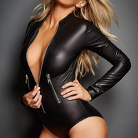 Women Black PVC Leather Long Sleeve Bodysuit Pole Dance Costume Hot Sexy Club Gothic Fetish Latex Costume With Front Zipper