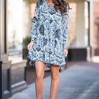 Paisley Perfectionist Dress, White-Blue