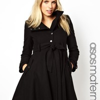 ASOS Maternity   ASOS Maternity Fit and Flare Coat with Popper Front at ASOS