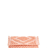 M'O Exclusive Suni Diamond Clutch In Coral & Pink