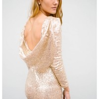 Gemma- All gold sequin dress with drape back