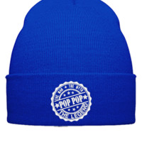 Pop Pop - The Man The Myth The Legend embroidery hat - Beanie Cuffed Knit Cap
