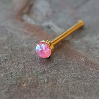2mm Pink Opal Gold Nose Bone Gold Nose Stud Nose Ring