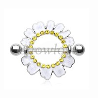 Showlove-2pcs Body Candy Yellow and Perky White Daisy Flower Nipple Shield Piercing Barbell Rings Free Shipping