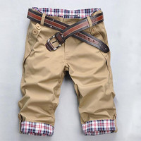 Plaid Hem Pocket Cargo Shorts