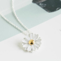spring daisy necklace,pretty necklace,jewelry necklace,flower pendant necklace,white necklace,beautiful necklace,N026K