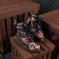 Fashion Retro Women's Flat Lace Up Vintage Floral Martin Boots Shoe