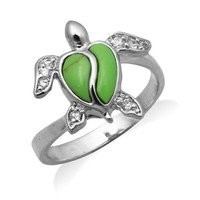 Sterling Silver Turtle Jewelry Ring with Synthetic Green Turquoise Shell and CZs