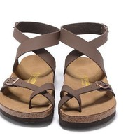 2017 Newest Birkenstock Summer Fashion Leather Cork Flats Beach Lovers Slippers Casual Sandals For Women Men Couples Slippers color brown size 36-45