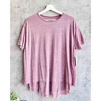 Free People - We The Free - Cloud 9 Frayed Hem Knit Tee in Sangria