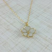 Tiny White Orchid Necklace- Little Flower Dipped in Gold- 14k Gold Filled Chain