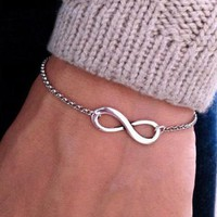 Jewelry Alloy Bracelet 8 Characters Infinity Symbol Polished