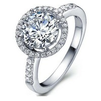 Halo CZ Promise or Engagement Ring