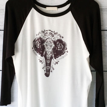 3/4 Sleeve Elephant Print Baseball Tee in Ivory and Black