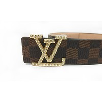 LV 2019 new diamond letter buckle wild simple smooth buckle belt Coffee check