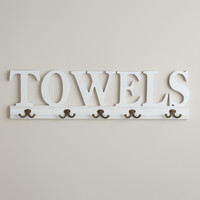 "5-Hook ""Towels"" Wall Rack - World Market"