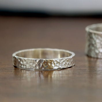 Narrow Hammered Silver Ring