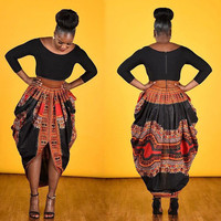 Fashion african midi dresses for womens dashiki printed 3/4 Sleeve Dresses ladies plus size african clothing Robe Femme 10947