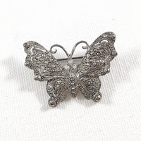 Faux marcasite butterfly pin,  silver butterfly scarf pin coat pin, vintage butterfly brooch, marquesite butterfly, rhinestone butterfly