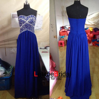 2014 New Fashion Cheap Sweetheart Crystal Beaded Royal Blue Chiffon Long Prom Dress Gown/Evening Dress Gown/Party Dress/Holiday Dress/Custom