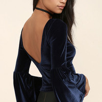 Look to the Moon Navy Blue Velvet Long Sleeve Crop Top