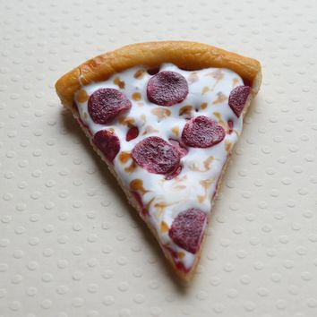 Pepperoni Pizza Slice Magnet, Polymer Clay