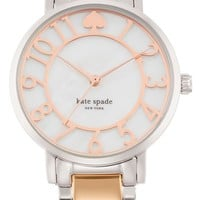 Women's kate spade new york 'gramercy' mother-of-pearl bracelet watch, 34mm - Rose Gold/ Silver