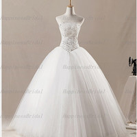 Ball gown Strapless Sleeveless Floor-length Tulle Applique Beading Long Wedding Dresses Prom Dresses Formal Dresses Evening Dresses 2014