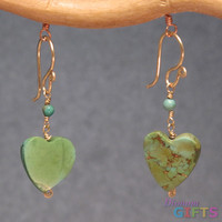 """linked with green turquoise hearts, 1-1/4"""" Earring Gold Or Silver"""