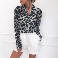 2019 Leopard Print Blouse Autumn Tops for Women Long Sleeve Animal Print Shirt Elegant Office Ladies Tunic Blouses Plus Size