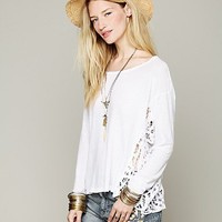 Free People Boxy Pieced Lace Pullover